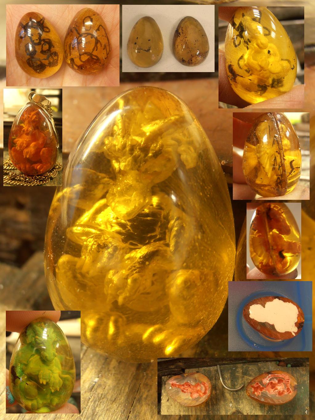 Leeroy the amber dragon in progress by WeirdWondrous