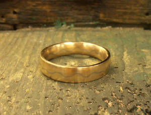 Scribbled Path mokume inspired wedding band
