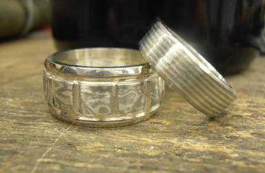 Mokume wedding rings Silver, Gold and Palladium