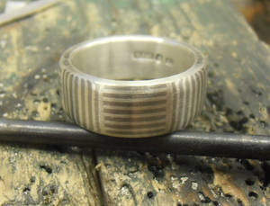 Mokume Mosaic band Silver and Palladium