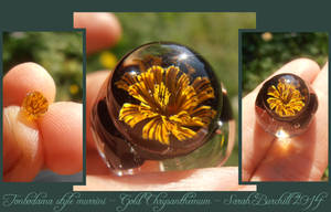 Chrysanthemum glass miniature murrini bead by WeirdWondrous