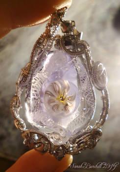 Lampwork drop pendant with wirewrap