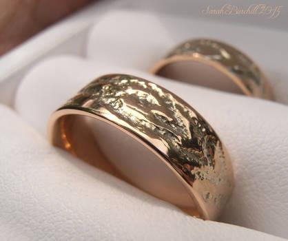 Aging wood wedding bands