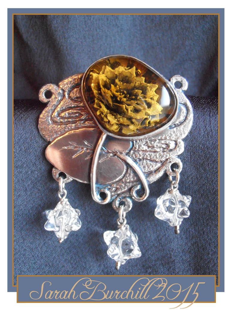 Water lily brooch with amber intaglio by fairyfrog