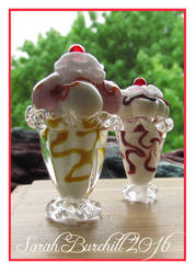 Ice cream sundae miniatures in glass by fairyfrog