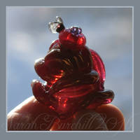 Rose perfume bottle with tiny fly by fairyfrog