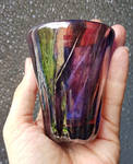 Purple and silvered glass goblet