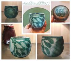 Mistletoe cameo glass vase by fairyfrog