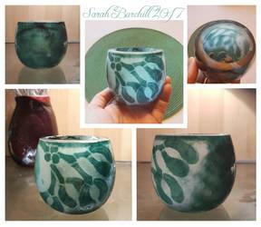 Mistletoe cameo glass vase by WeirdWondrous