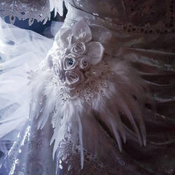 Swan gown detail by fairyfrog