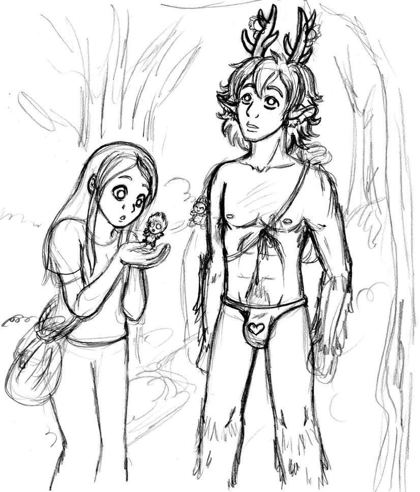 Elle And Abernos With Puffles Sketch By SuirenShinju On
