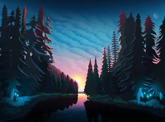 Sundown Landscape by byrotek