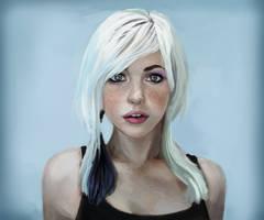 Whitehaired girl portrait by JordyLakiere