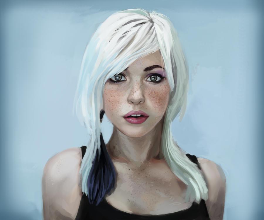 Whitehaired girl portrait by JordyLakiere on DeviantArt  Whitehaired gir...