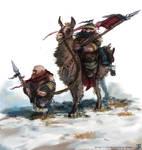 Dwarven Llama rider (mongol style)