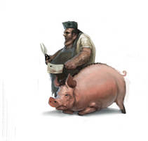Pig Butcher guy by JordyLakiere