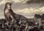 Glaurung: Father of Dragons, and his orc host. by JordyLakiere