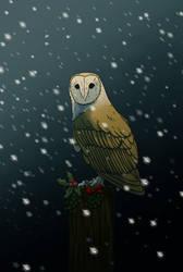 Christmas owl by NickRileyArt