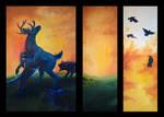 Ambush in Oils - Triptych Assembled