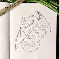 Inktober 14: Winged Snake by Alithographica