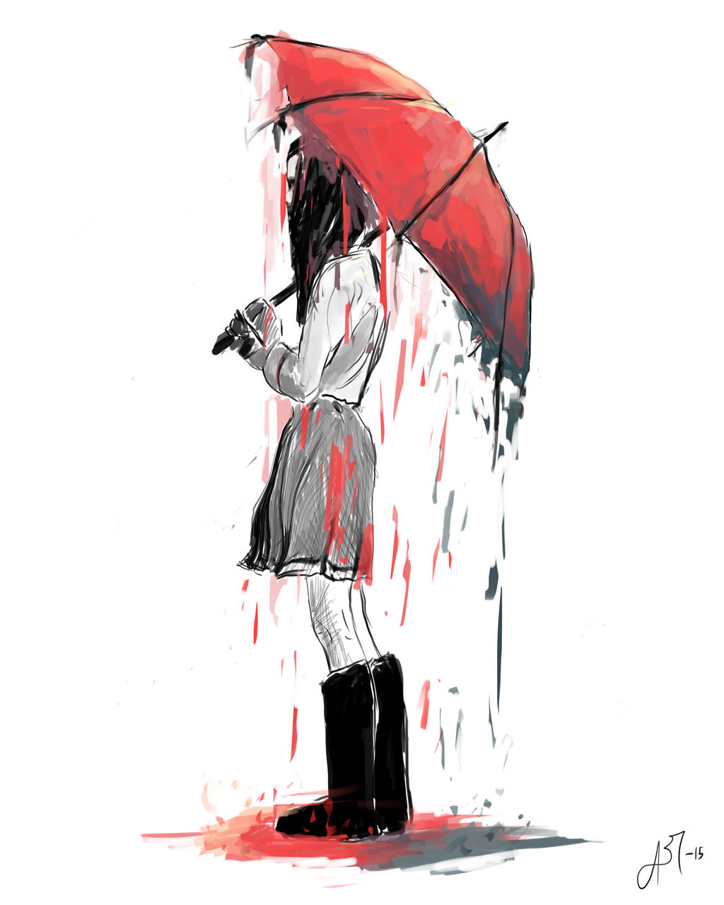 Girl With Umbrella Drawing Pictures to Pin on Pinterest ...