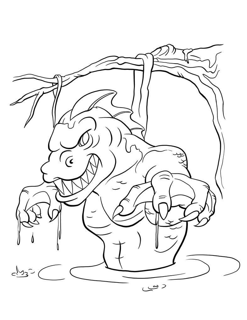 swamp monster free coloring pages. Black Bedroom Furniture Sets. Home Design Ideas