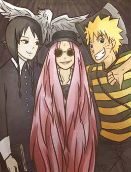 :naruto: narutoXaddams family halloween crossover