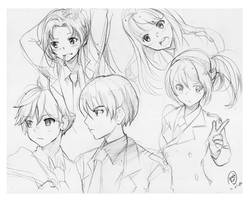 Anime Character sketches by keididoodle