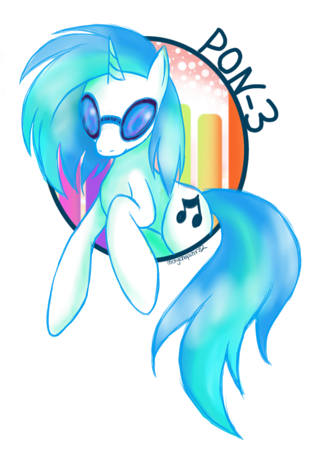 :Pon-3: The DJ Pony by oddlittleleaf