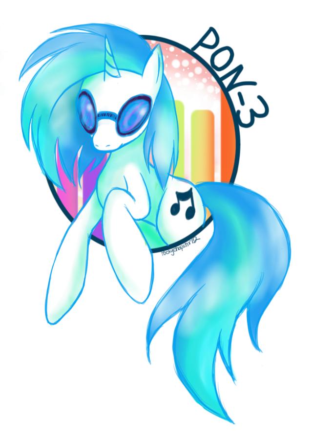 :Pon-3: The DJ Pony by oddlittleleaf