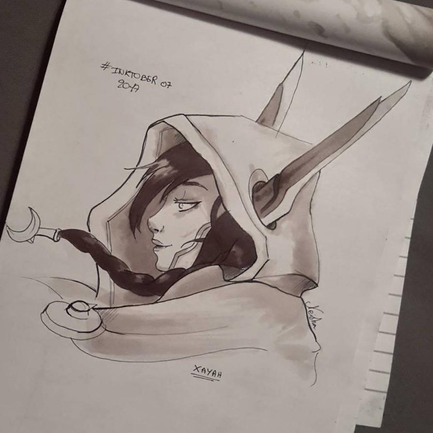 Inktober Xayah by Pandhes