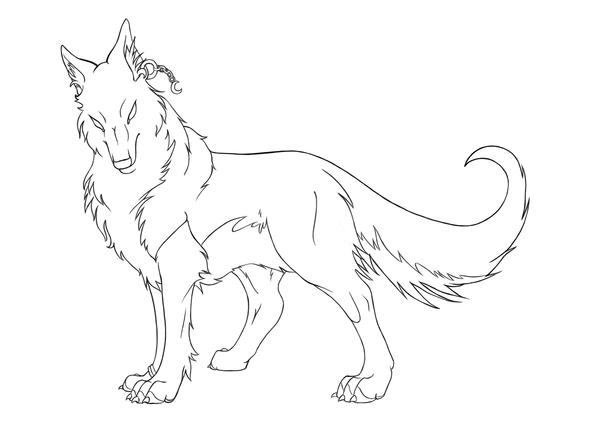 Wolf Lineart Alaster By Kyriadori On Deviantart Anime Wolf Coloring Page
