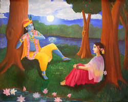 Krishna Plays His Flute by Radhikita