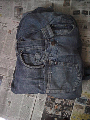 backpack from old denim. front view
