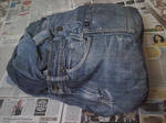 backpack from old denim. side view