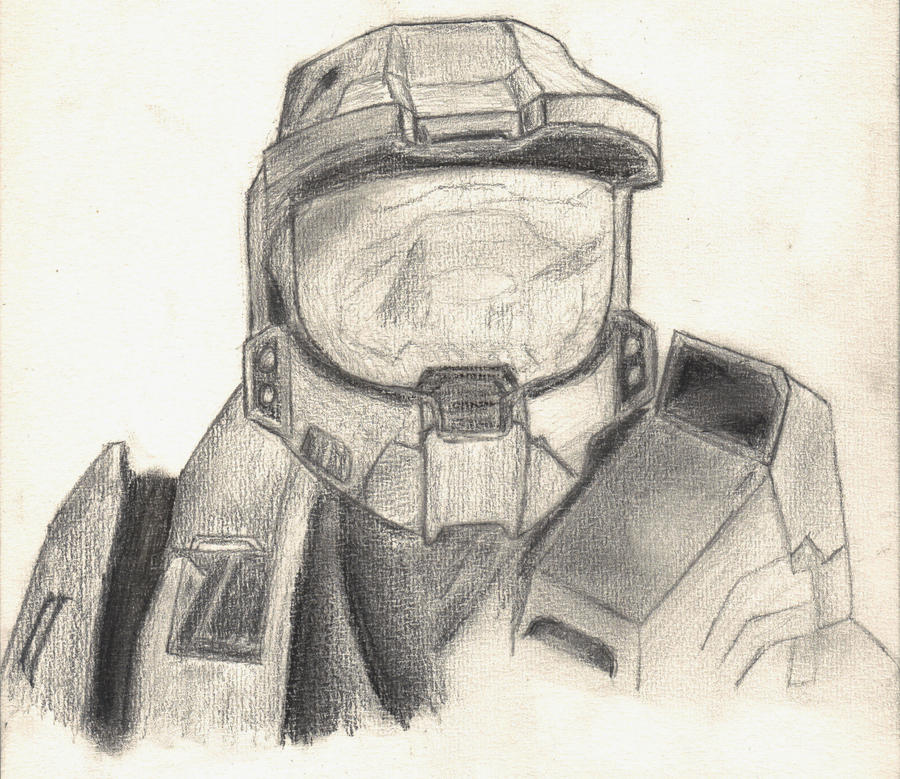 Master Chief from Halo sketch by joebentley10