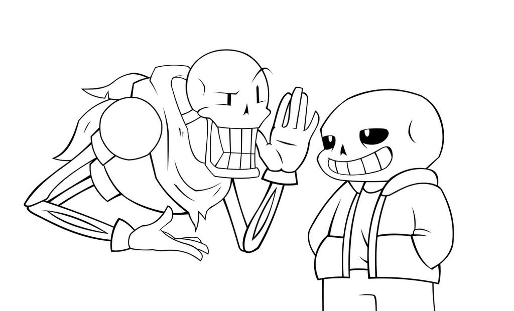 undertale coloring pages - undertale papyrus and sans line art by razonadux on