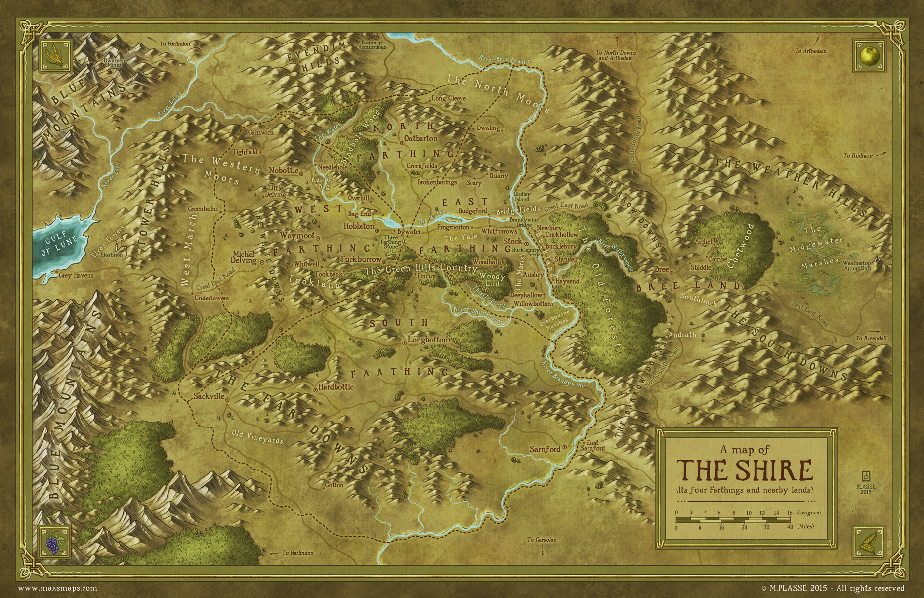 Maxime Plasse's map of The Shire