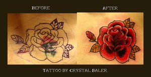 Old School Rose Tattoo Cover Up