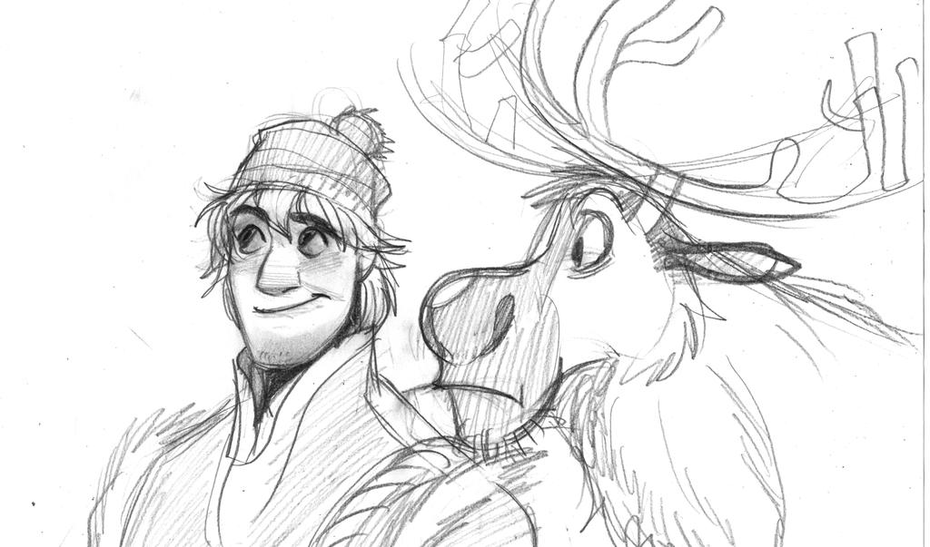 Drawing Of From Frozen Kristoff And Sven