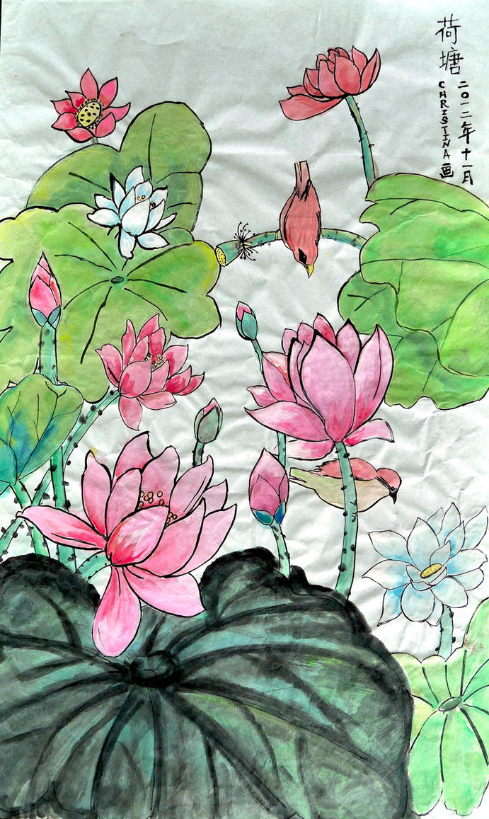Chinese Painting - Lotus (Nov. 2012) by christinak0811
