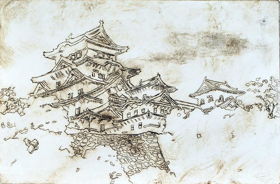 Unpainted Himeji Castle Print (2015) by christinak0811