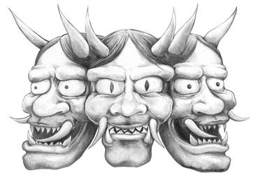 Hannya Masks by shanedraws
