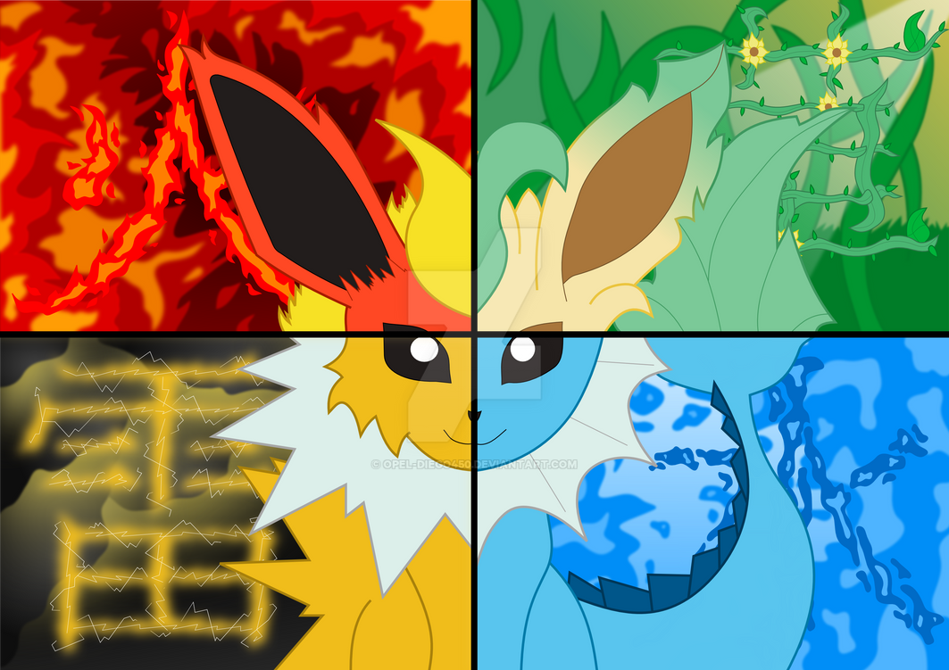 4 Elements Of Art : The four elements eeveelution by opel diego on deviantart