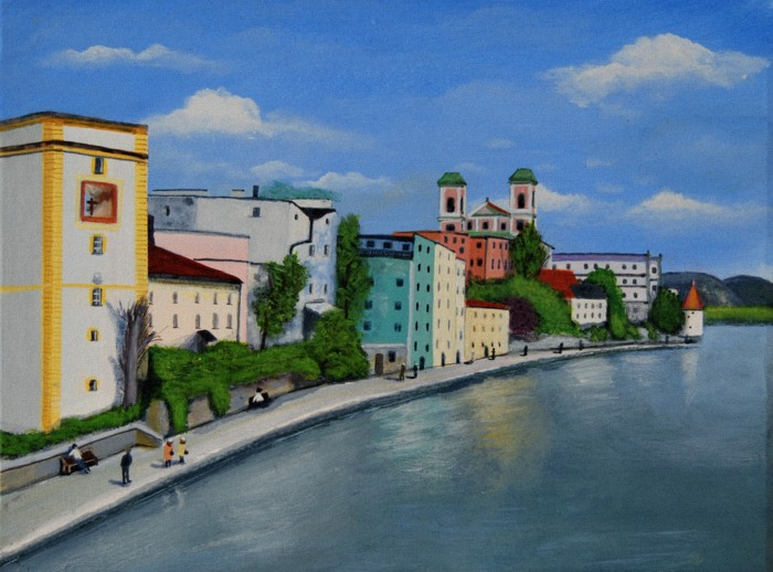Danube at Passau going to Vienna Acrylic by Artisan30