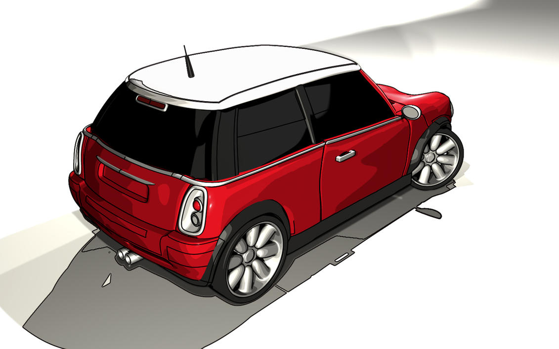 mini Cooper sketch and toon wallpaper > 3d Papel de parede > 3d Fondos