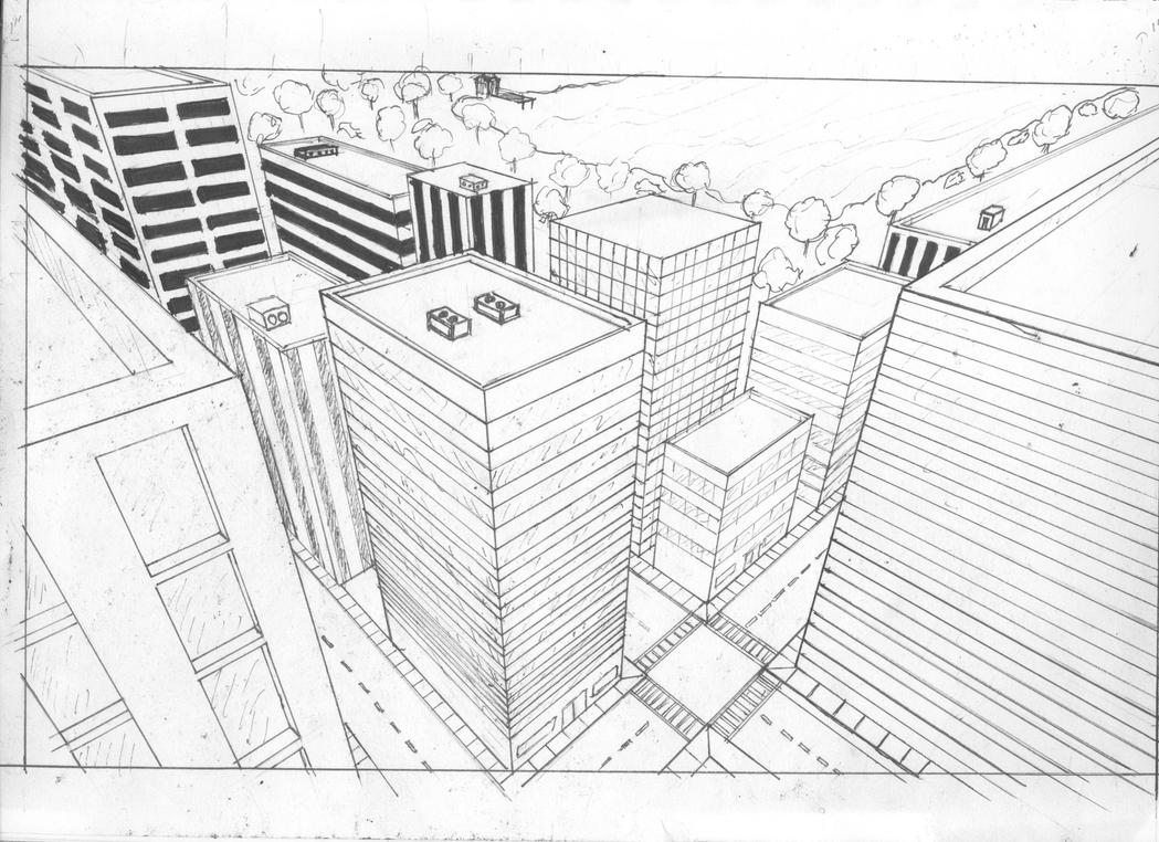3 point perspective drawing city