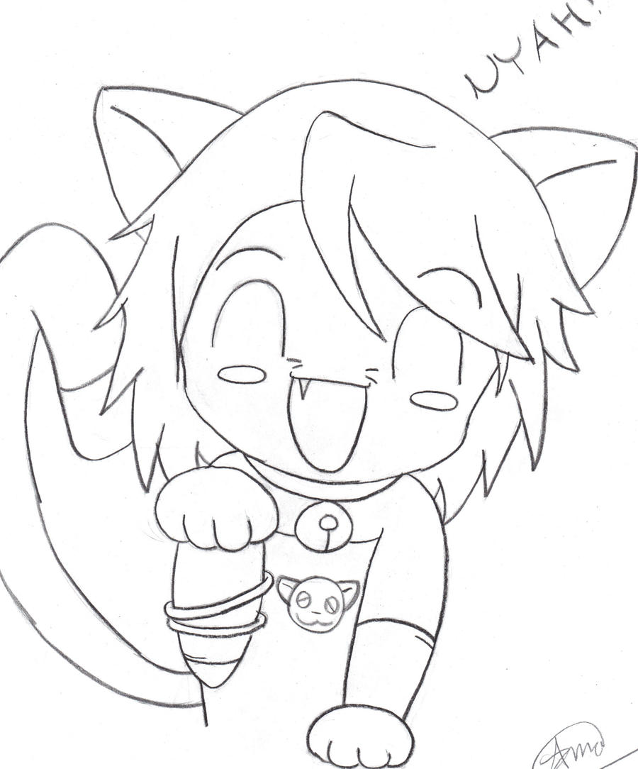 Chibi Anime Cat Drawing 2012 Cat-Girl Chibi by