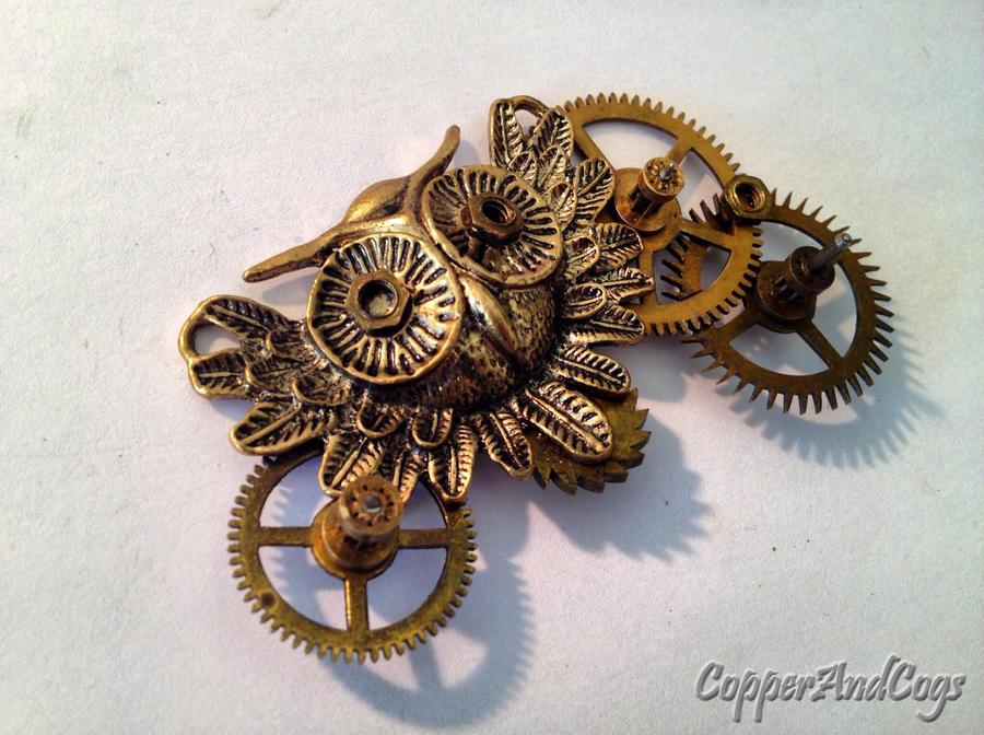 'Owl' Steampunk brooch by CopperAndCogs