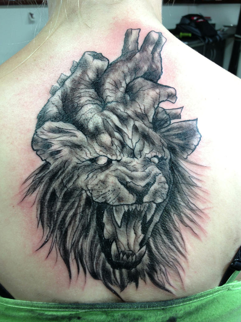 lion heart tattoo by typhus3k on deviantart
